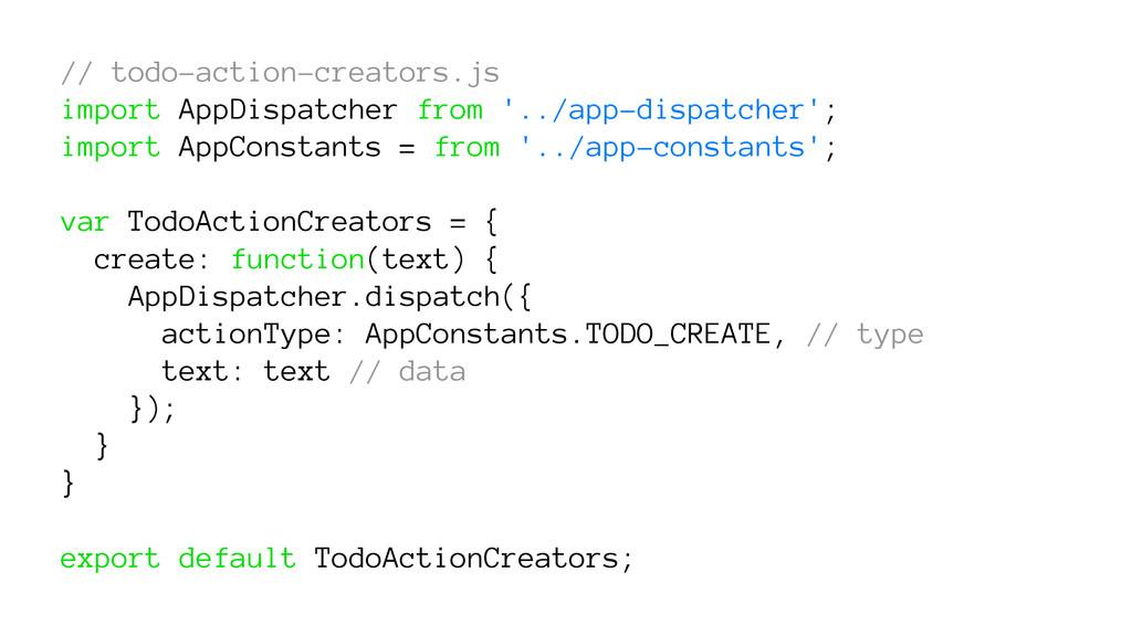 // todo-action-creators.js import AppDispatcher...