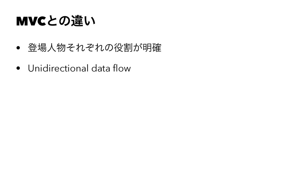 MVCͱͷҧ͍ • ొਓͦΕͧΕͷׂ͕໌֬ • Unidirectional data ...