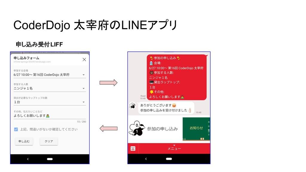 CoderDojo 太宰府のLINEアプリ 申し込み受付LIFF