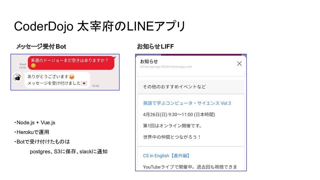 CoderDojo 太宰府のLINEアプリ メッセージ受付Bot お知らせLIFF ・Node...