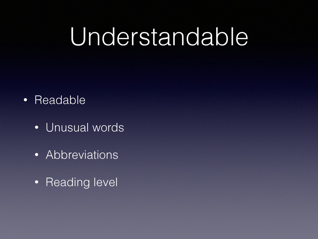 Understandable • Readable • Unusual words • Abb...