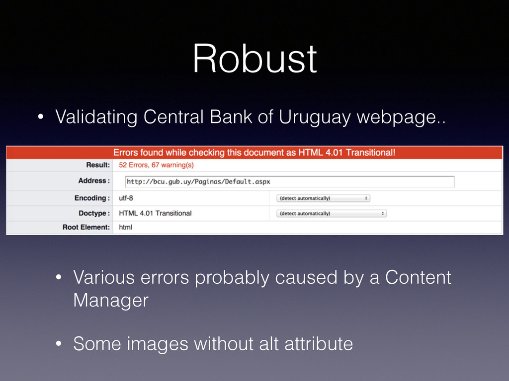Robust • Validating Central Bank of Uruguay web...