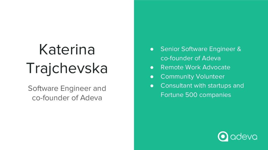 Katerina Trajchevska ● Senior Software Engineer...