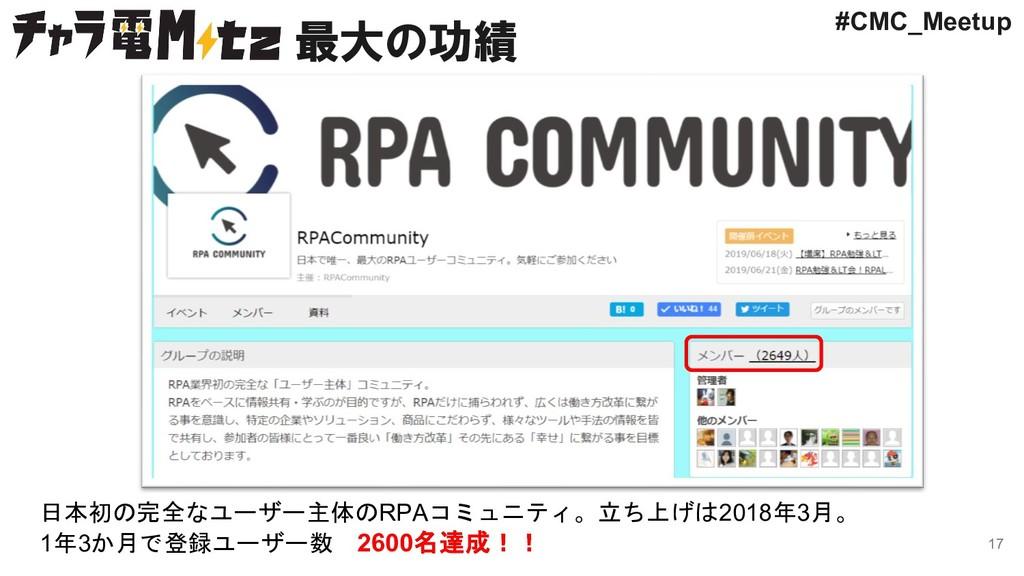 最大の功績 17 日本初の完全なユーザー主体のRPAコミュニティ。立ち上げは2018年3月。 ...