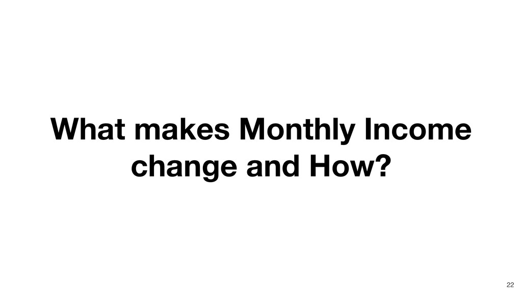 What makes Monthly Income change and How? 22