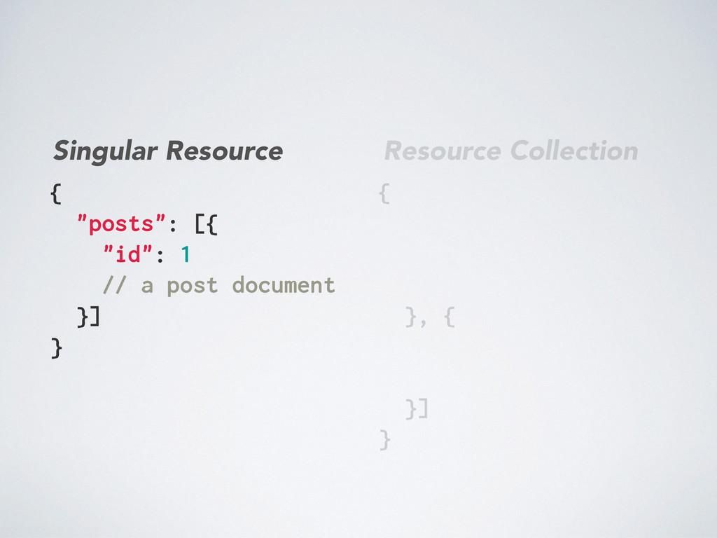 "{ ""posts"": [{ ""id"": 1 // a post document }] } {..."