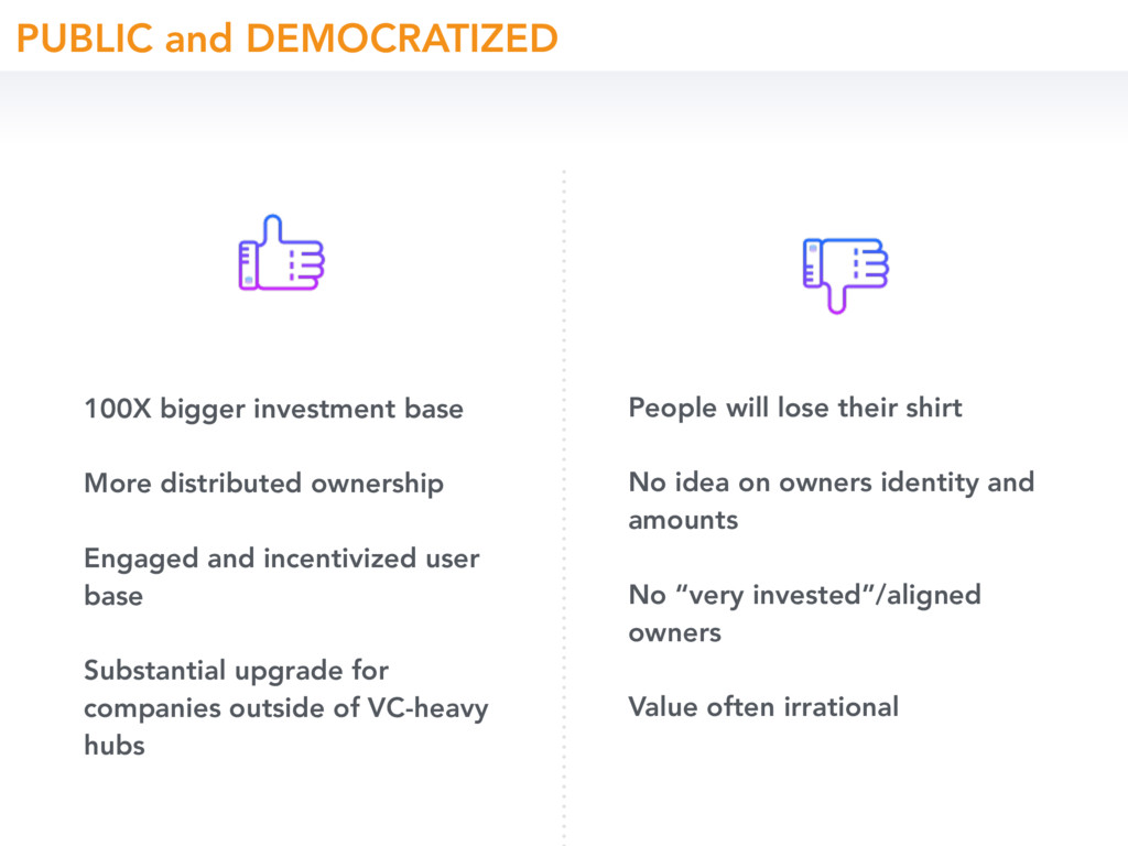 100X bigger investment base More distributed ow...