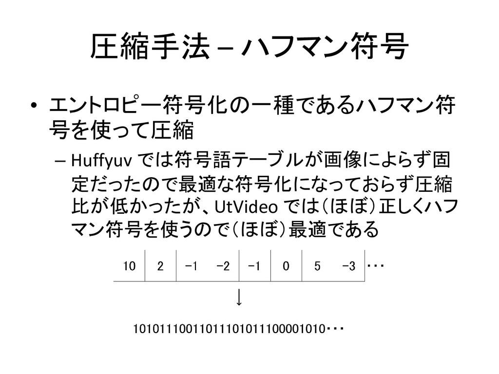 圧縮手法 – ハフマン符号 • エントロピー符号化の一種であるハフマン符 号を使って圧縮 – ...