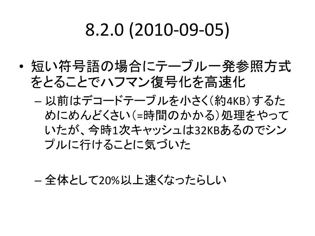 8.2.0 (2010-09-05) • 短い符号語の場合にテーブル一発参照方式 をとることで...