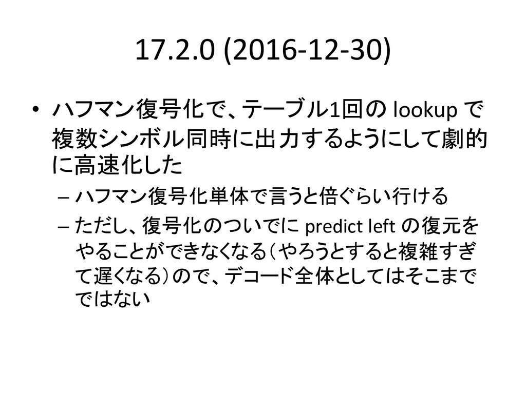 17.2.0 (2016-12-30) • ハフマン復号化で、テーブル1回の lookup で...