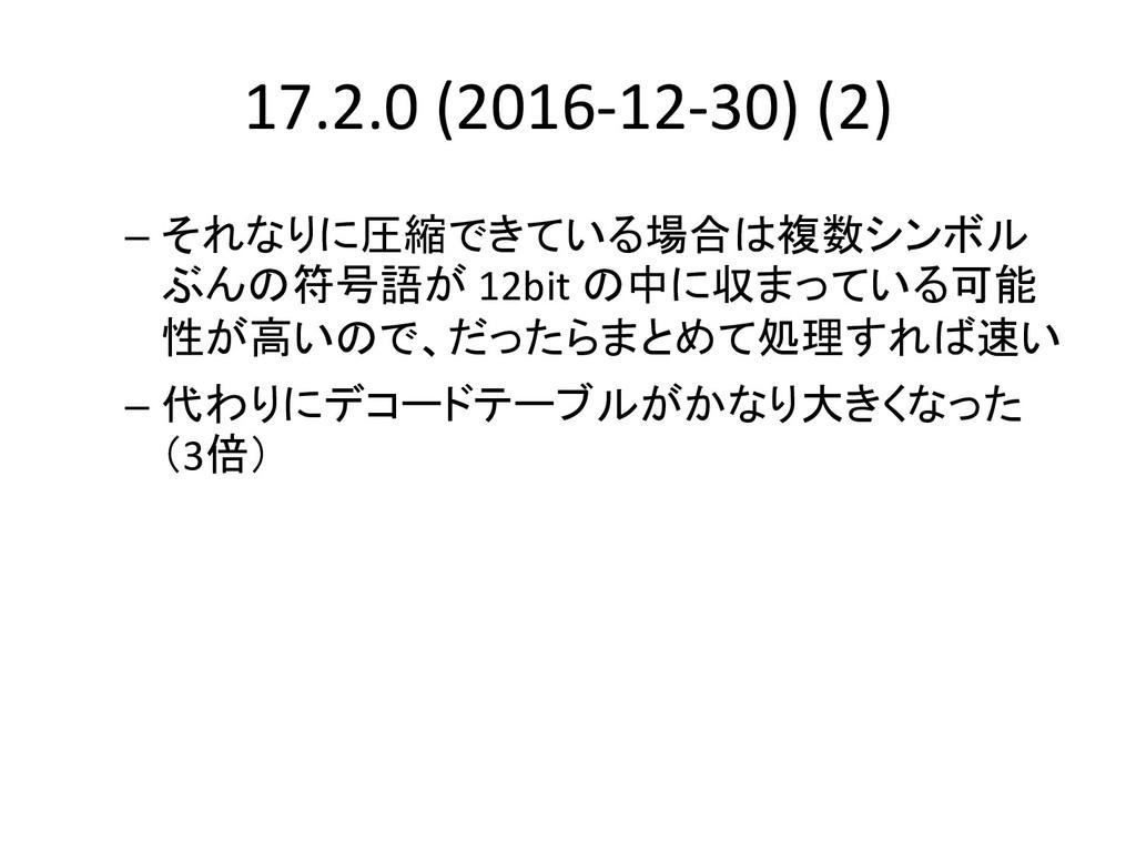 17.2.0 (2016-12-30) (2) – それなりに圧縮できている場合は複数シンボル...