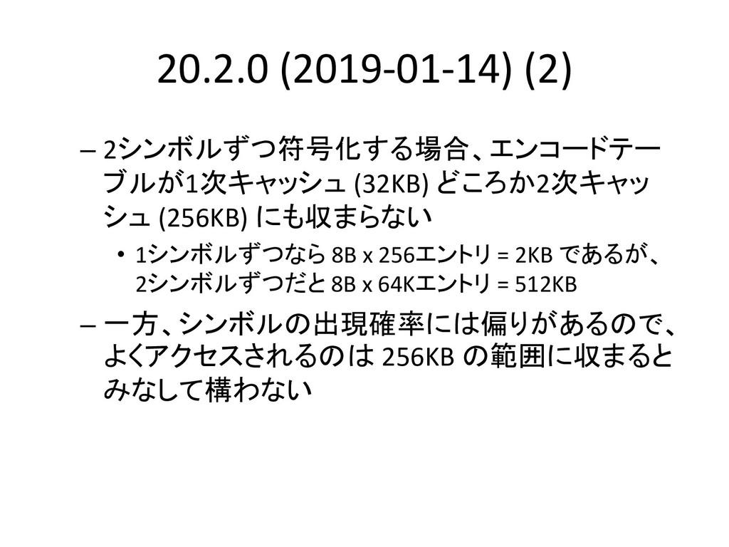20.2.0 (2019-01-14) (2) – 2シンボルずつ符号化する場合、エンコードテ...