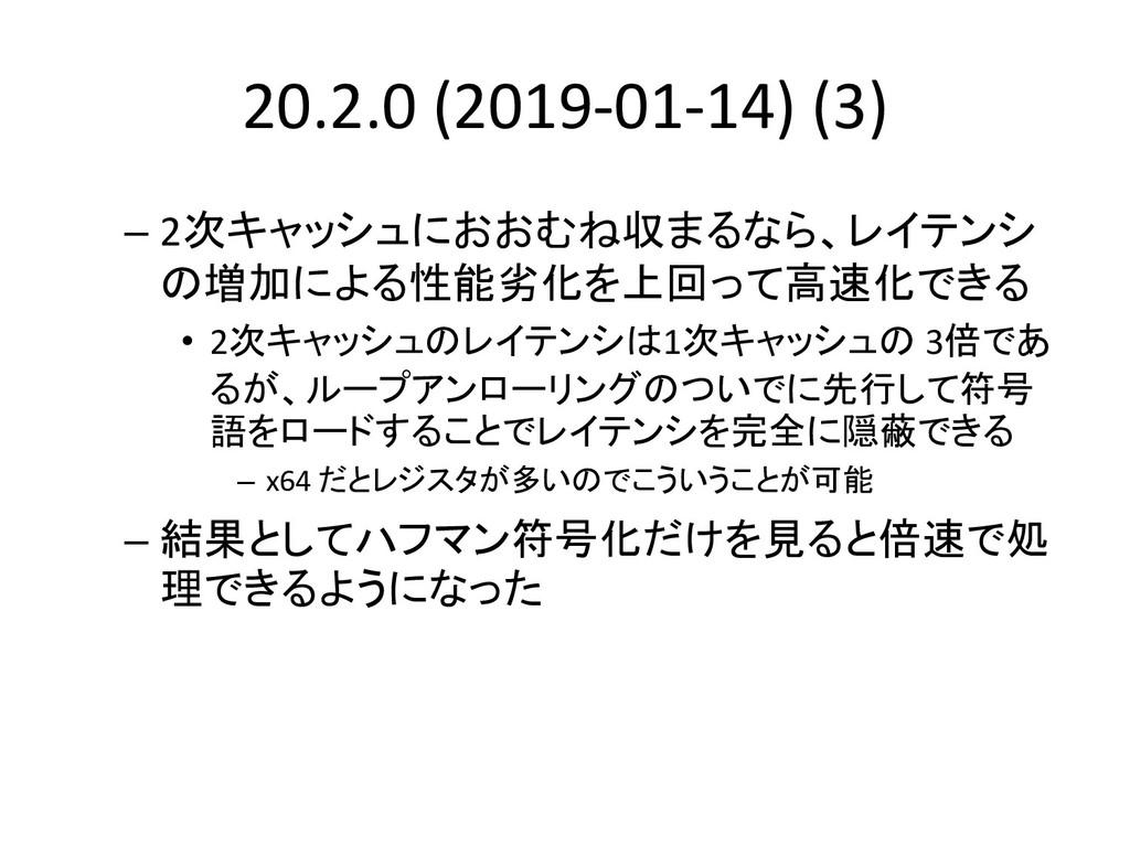20.2.0 (2019-01-14) (3) – 2次キャッシュにおおむね収まるなら、レイテ...