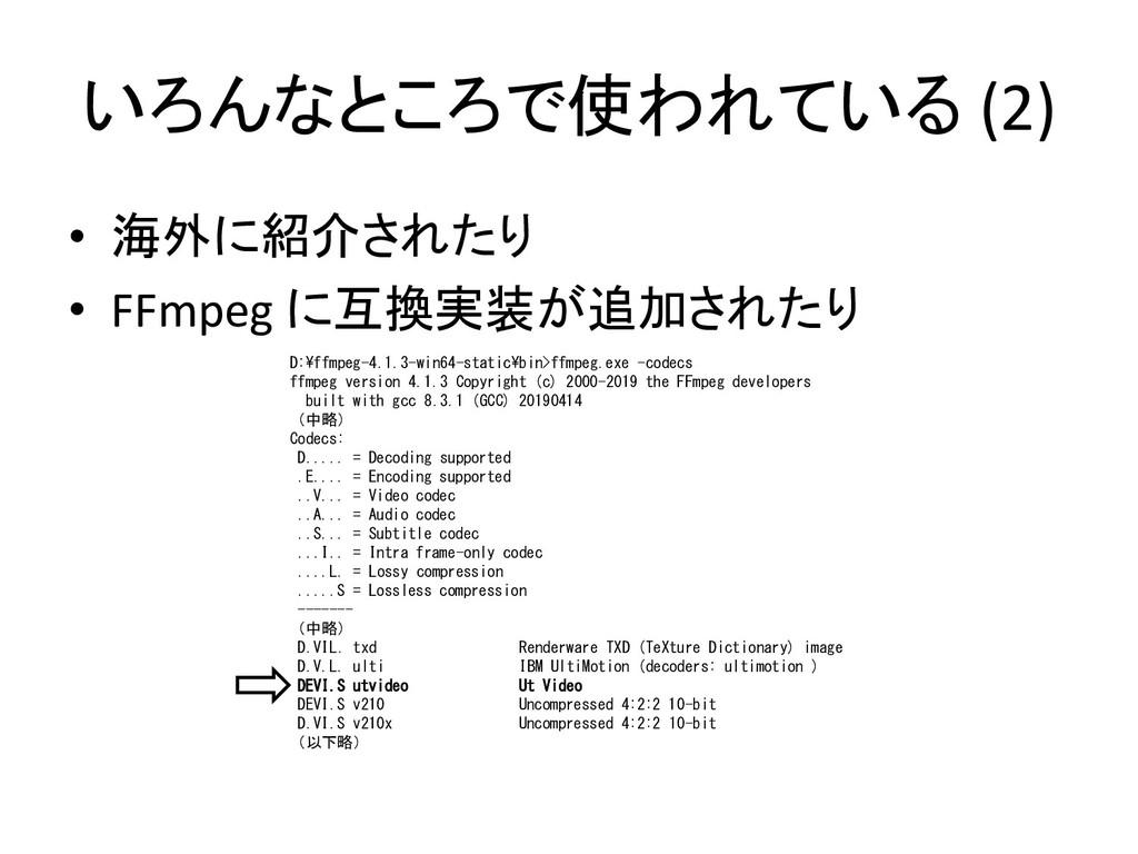 いろんなところで使われている (2) • 海外に紹介されたり • FFmpeg に互換実装が追...