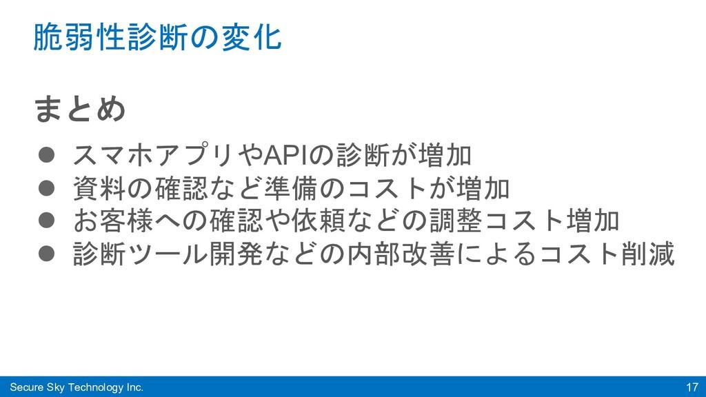 Secure Sky Technology Inc. 17 脆弱性診断の変化 まとめ l スマ...