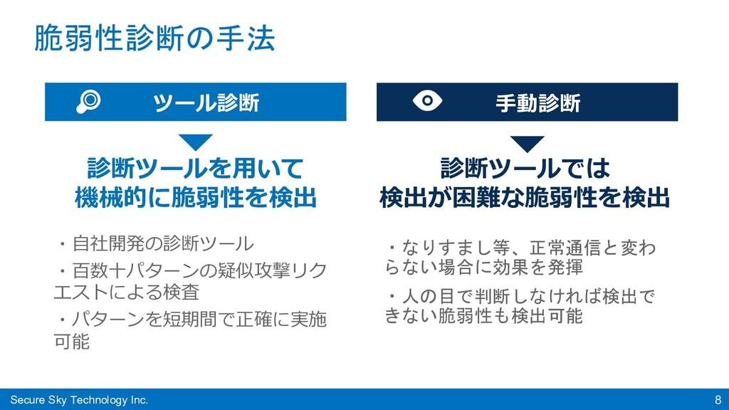 Secure Sky Technology Inc. 8 脆弱性診断の手法 ツール診断 ・⾃社...