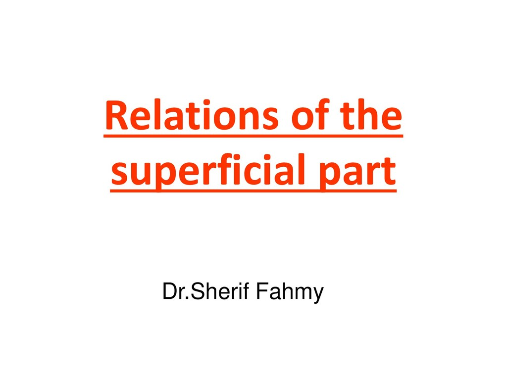 Relations of the superficial part Dr.Sherif Fah...