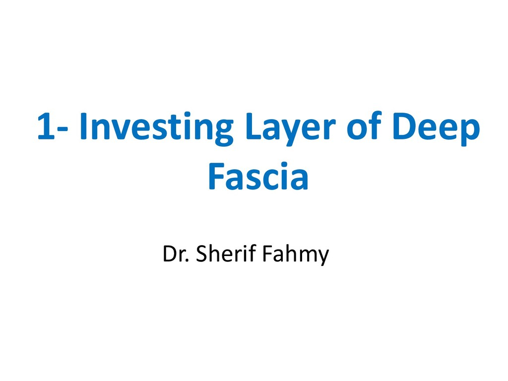 1- Investing Layer of Deep Fascia Dr. Sherif Fa...
