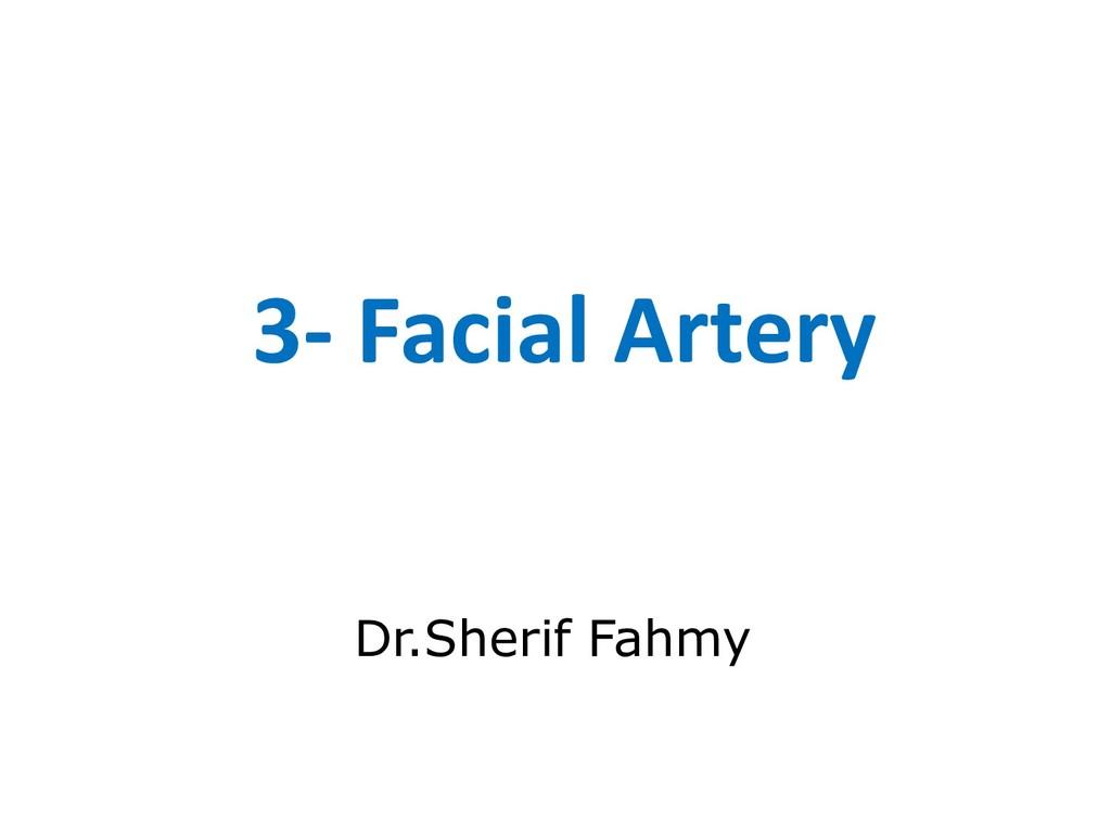3- Facial Artery Dr.Sherif Fahmy