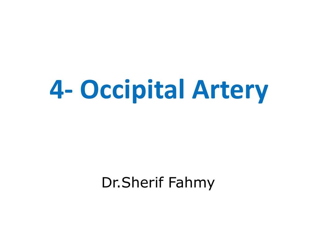 4- Occipital Artery Dr.Sherif Fahmy