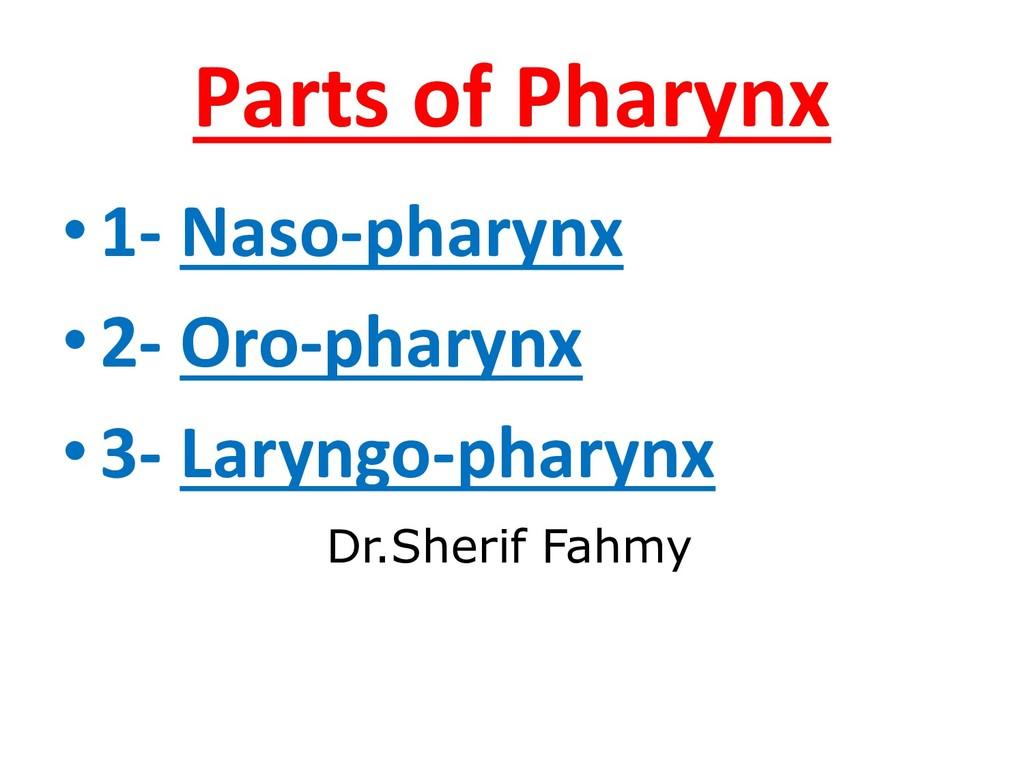 Parts of Pharynx •1- Naso-pharynx •2- Oro-phary...