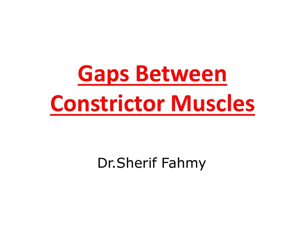 Gaps Between Constrictor Muscles Dr.Sherif Fahmy