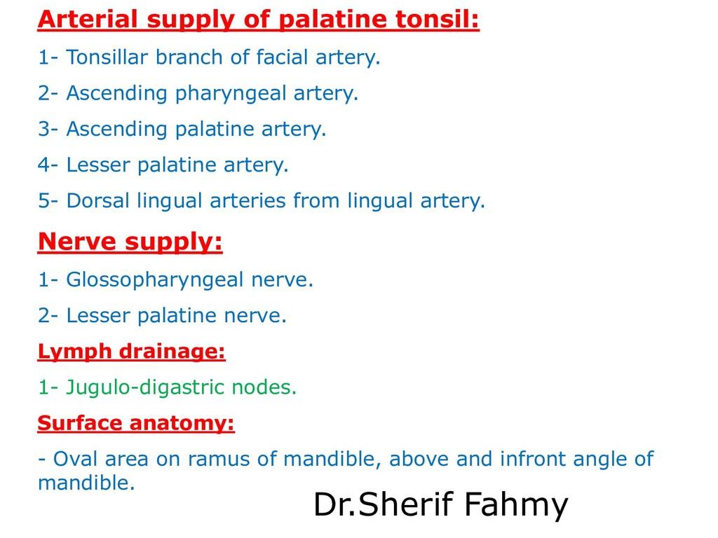 Arterial supply of palatine tonsil: 1- Tonsilla...