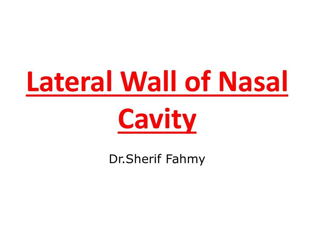 Lateral Wall of Nasal Cavity Dr.Sherif Fahmy