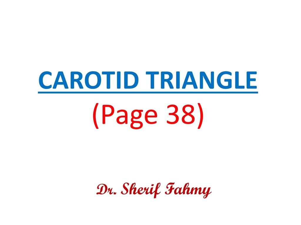 CAROTID TRIANGLE (Page 38) Dr. Sherif Fahmy