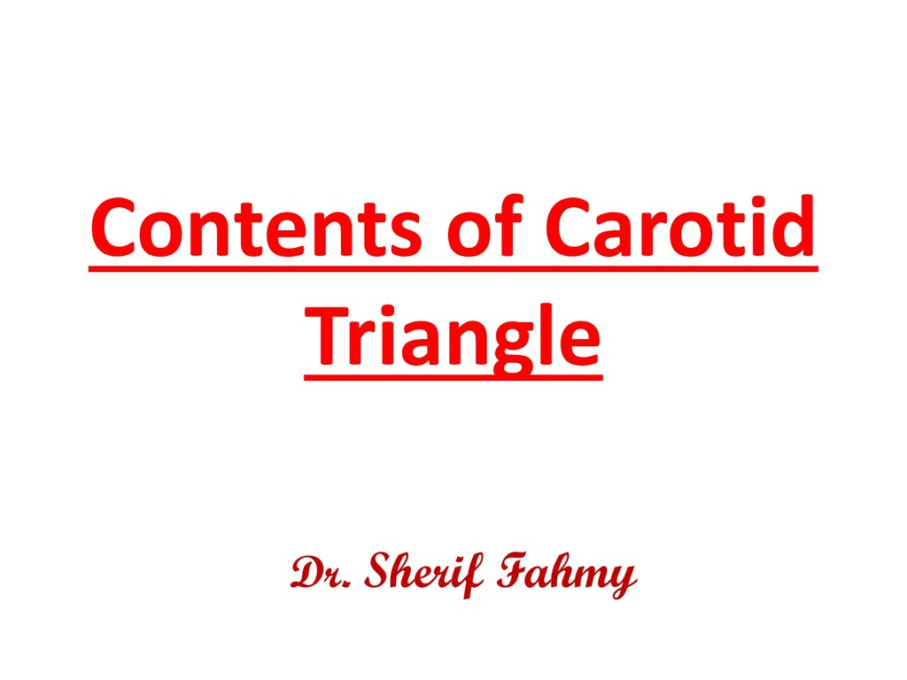 Contents of Carotid Triangle Dr. Sherif Fahmy