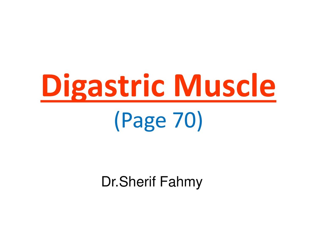 Digastric Muscle (Page 70) Dr.Sherif Fahmy