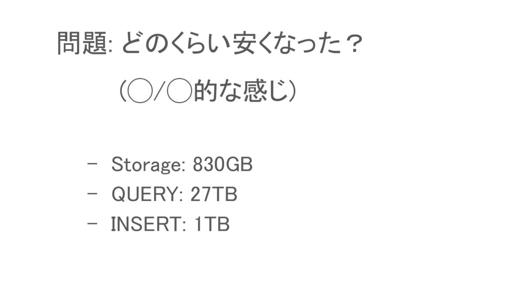 - Storage: 830GB - QUERY: 27TB - INSERT: 1TB 問題...