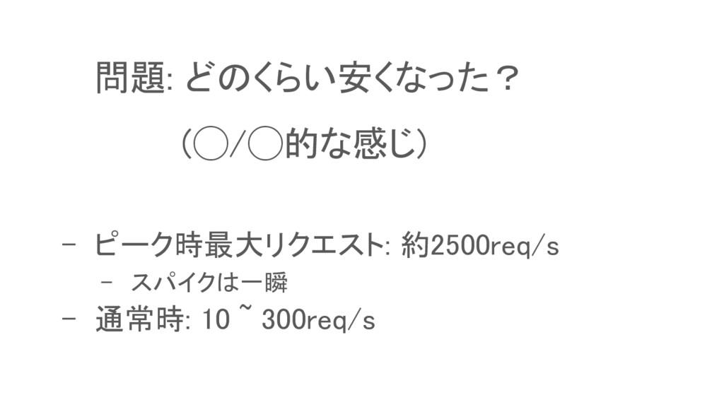 問題: どのくらい安くなった? (◯/◯的な感じ) - ピーク時最大リクエスト: 約2500r...
