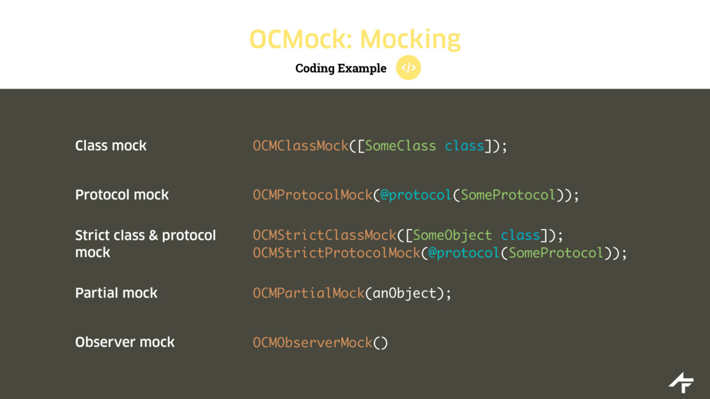 Coding Example OCMock: Mocking Class mock OCMCl...