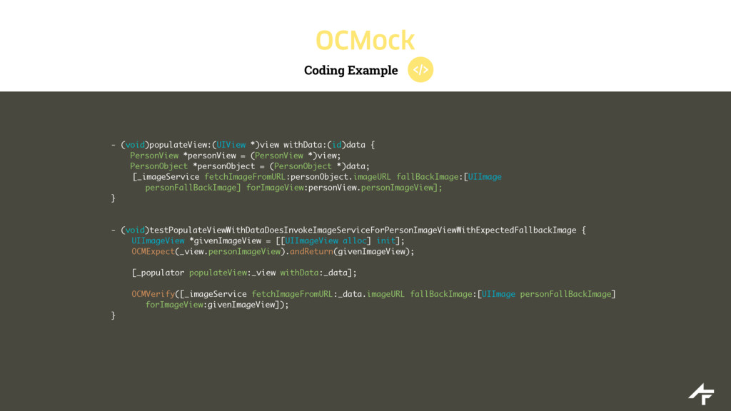 Coding Example OCMock - (void)populateView:(UIV...