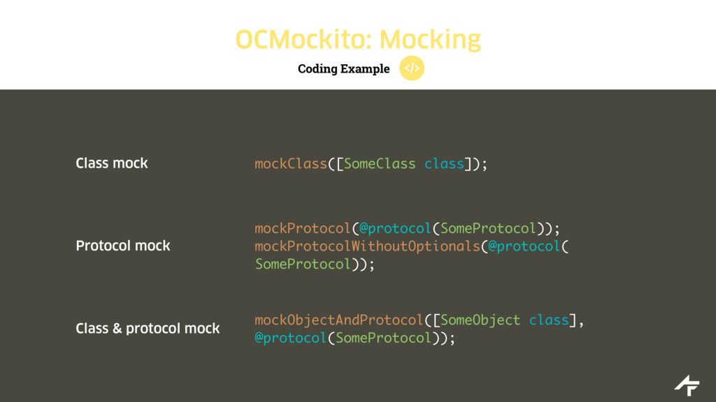 Coding Example OCMockito: Mocking Class mock mo...