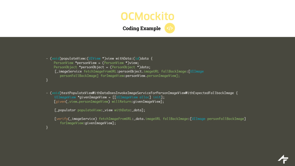 Coding Example OCMockito - (void)populateView:(...