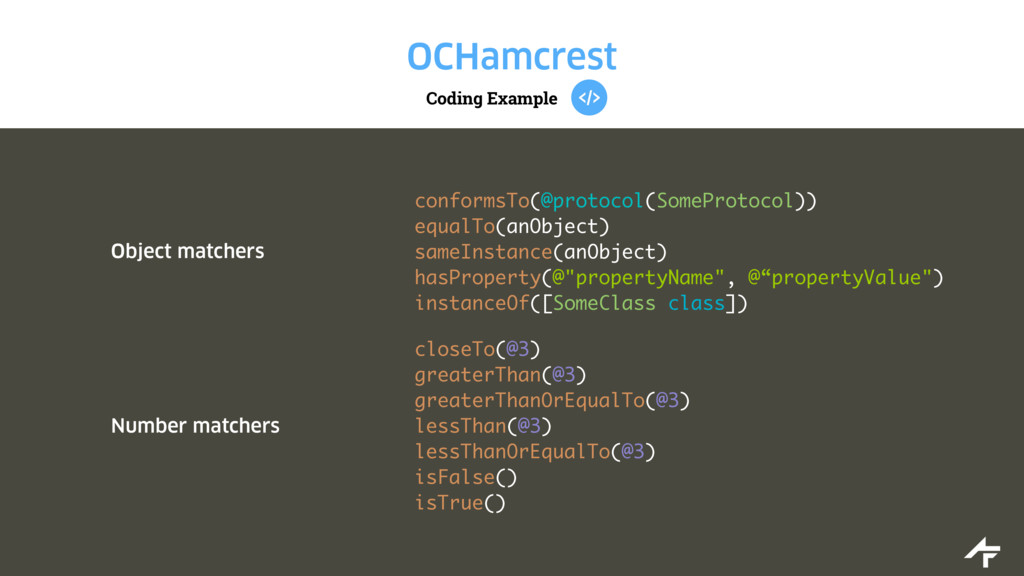 Coding Example OCHamcrest Object matchers confo...