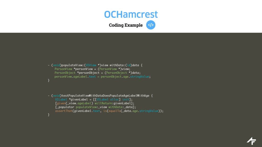 Coding Example OCHamcrest - (void)populateView:...