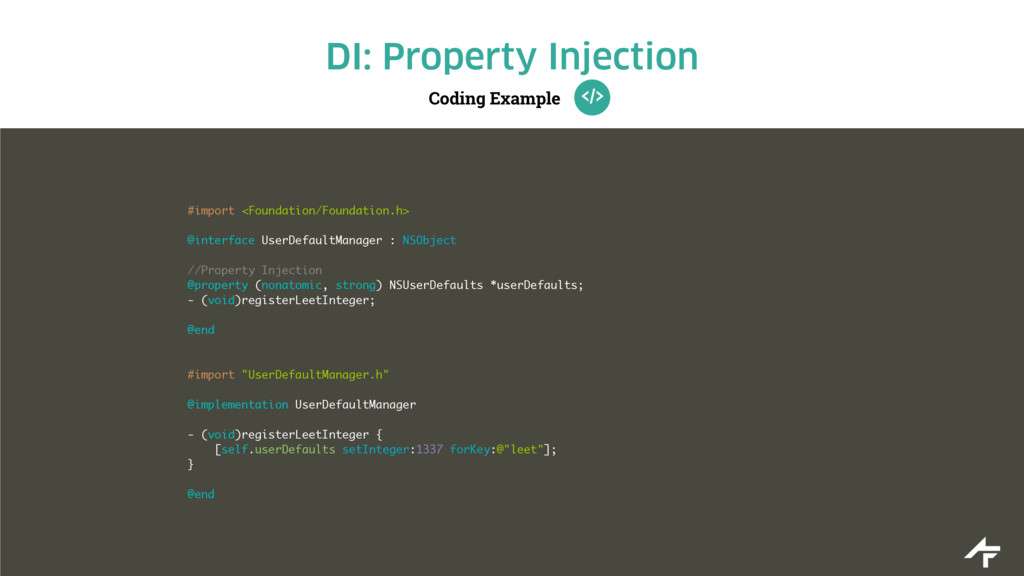 Coding Example DI: Property Injection #import <...