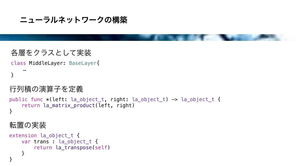 χϡʔϥϧωοτϫʔΫͷߏங ߦྻੵͷԋࢠΛఆٛ public func *(left: ...