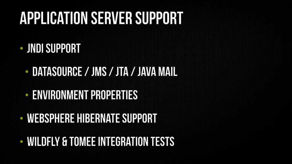 Application Server Support • JNDI Support • Dat...