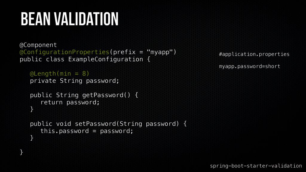 Bean Validation spring-boot-starter-validation ...