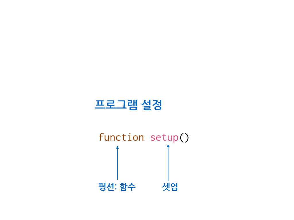 function setup() 셋업 프로그램 설정 펑션: 함수
