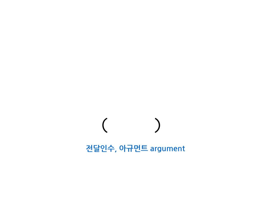 전달인수, 아규먼트 argument ( )