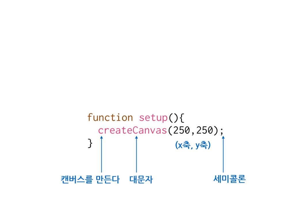 function setup(){ createCanvas(250,250); } 캔버스를...