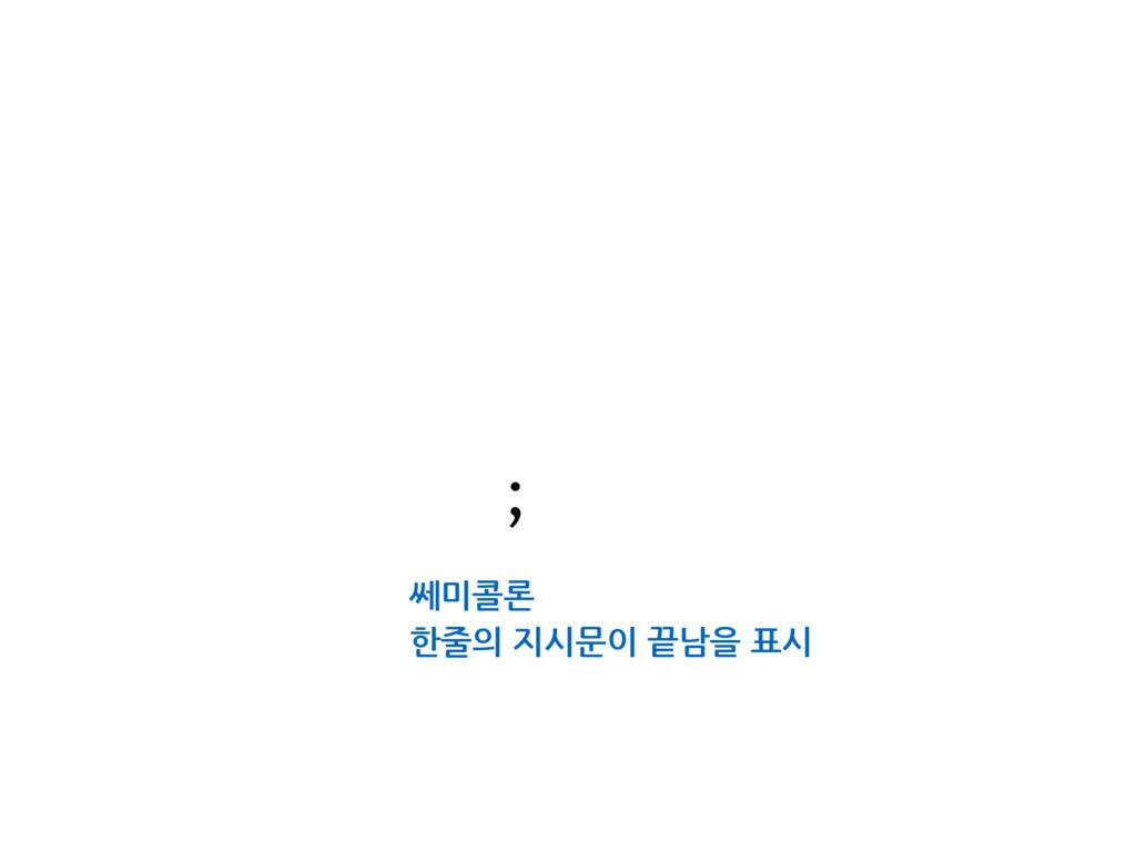 쎄미콜론 한줄의 지시문이 끝남을 표시 ;