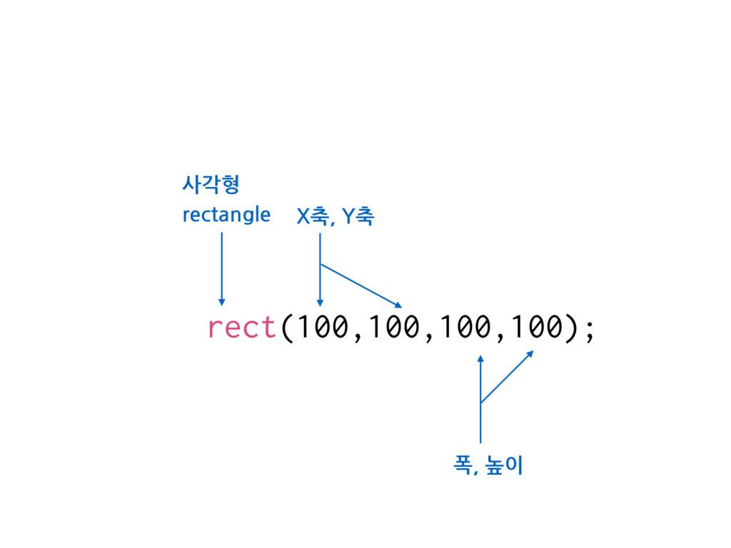 rect(100,100,100,100); 폭, 높이 사각형 rectangle X축, ...