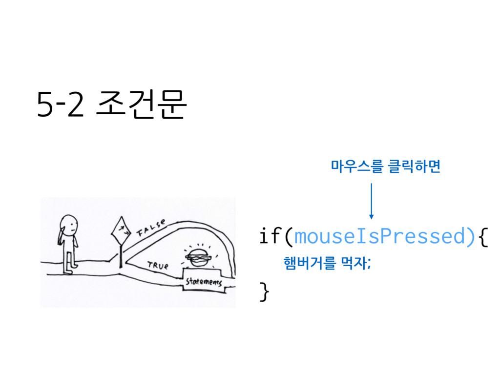 if(mouseIsPressed){ } 5-2 조건문 햄버거를 먹자; 마우스를 클릭하면