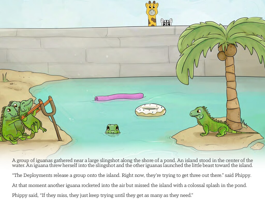 A group of iguanas gathered near a large slings...